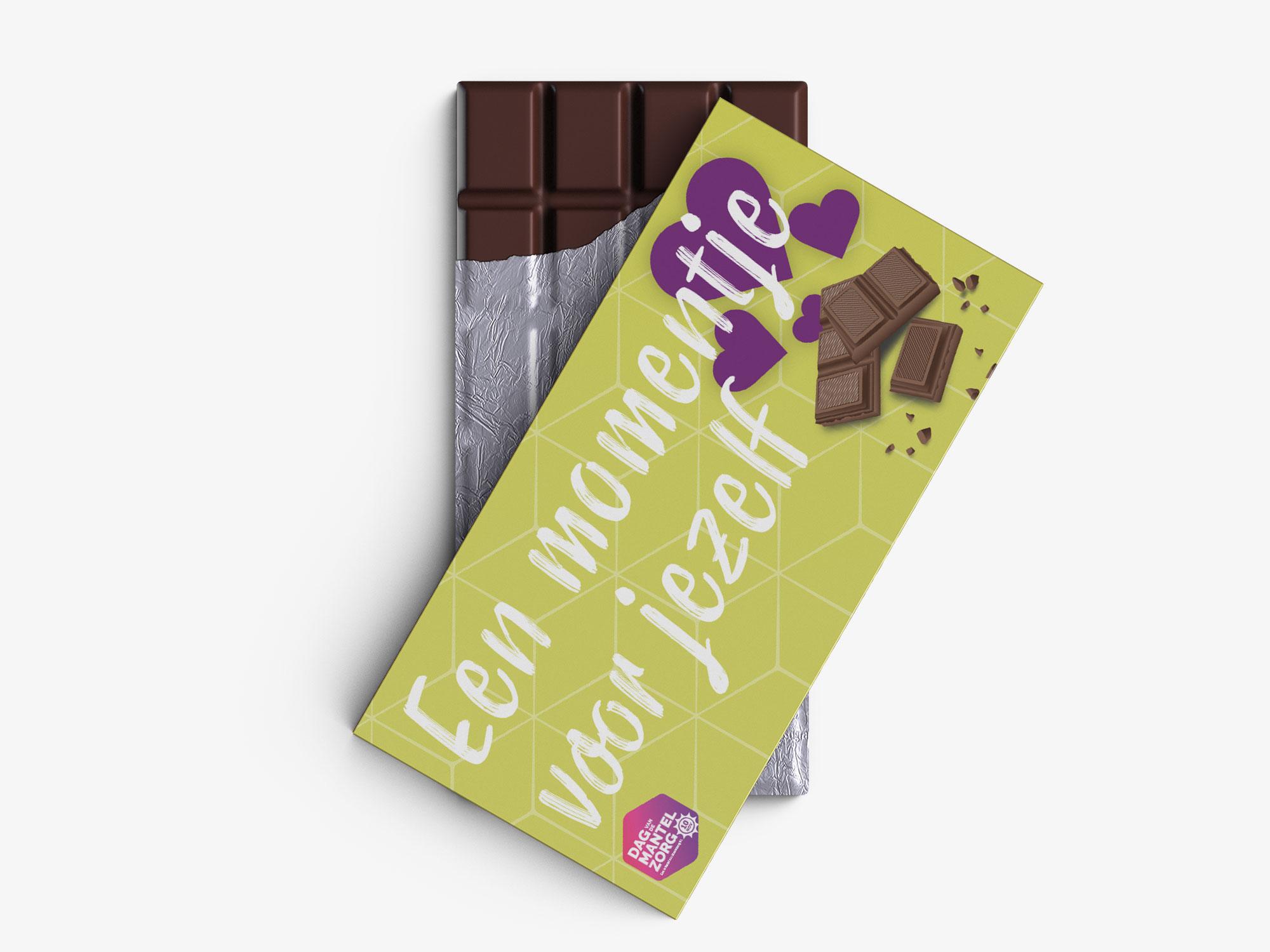 Ontwerp chocolade reep Dag van de Mantelzorg